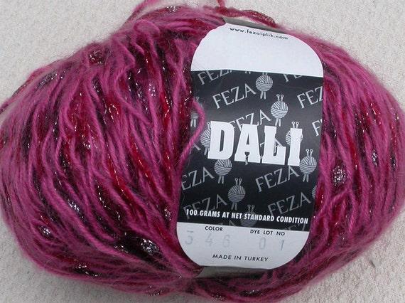 Feza Dali Yarn, novelty Metallic Plied and Ribbon, Nylon, Mohair, Knit, Crochet, Choose Green, Mauve, Pink or Red