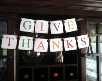 DIY printable give thanks banner