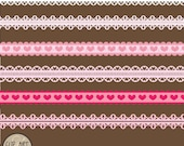 Pretty Pink Ribbons Digital Clip Art