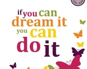 Digital Clipart - Motivational Quotes - If You Can Dream It, You Can Do It