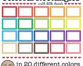 Digital Rectangle Frames - 20 Colorful Rectangles with little hearts