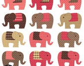 Elephants - in Choco Pink colors - Digital Clip Art