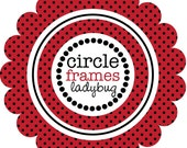 Digital Clip Art - Circle Frames in Ladybug Pattern