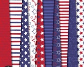 Fourth of July - Independence Day Digital Paper Pack - Star Stripes Dots in Red Blue and White