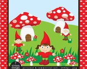 Red Mushrooms and the Gnomes - Digital Clip Art