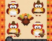 Thanksgiving Digital Clip Art - Owls