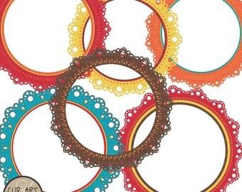 Digital Clip Art - Circle Frames - Bright Happy Lace