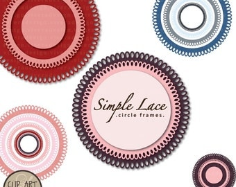 Clip Art Digital - Circle Frames - Simple Lace in Pink and Baby Blue