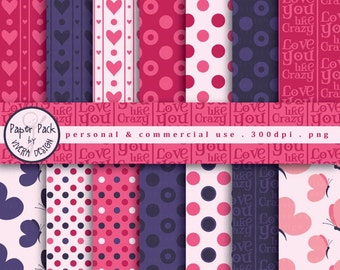Digital Paper Pack - Love You Like Crazy - 15 papers in pink, purple, blue, hearts.