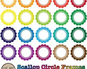 20 Digital Scallop Circle Frames - Digital Clip Art