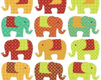 Clipart - Elephants - Ethnic patterned digital elephants