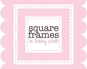Clip Art Digital - Square Frames in Baby Pink
