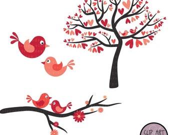 Love Birds in Bright Pink - Digital Clip Art