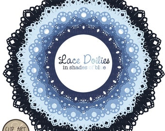 Digital Clip Art - Circle Frames - Lace Doilies in Shades of Blue