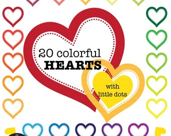 Digital Clip Art - Heart Frames with Separate Dotted Heart Linings - 40 PNG files