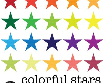 Digital Clip Art - 20 Colorful Stars