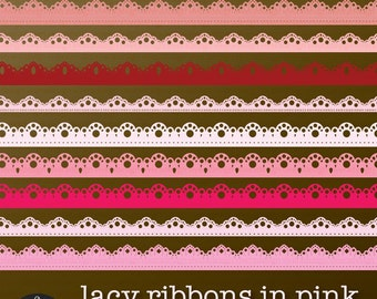 Lacy Ribbons in Shades of Pink - Digital Clip Art