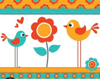 Digital Clip Art - Flower Birdies in Bright Retro Colors