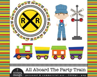 All Aboard the Party Train - Digital Clip Art