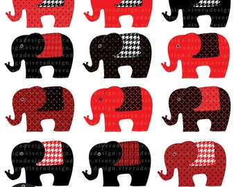 Digital Clip Art - Elephants - in Red and Black