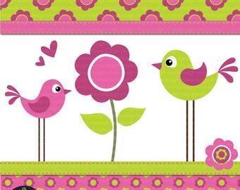 Digital Clip Art - Flower Birdies in Bright Pink and Green