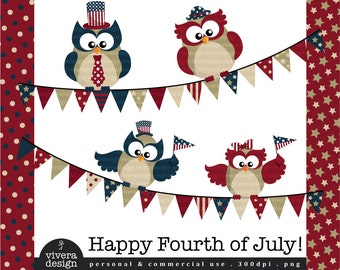 Fourth of July in Vintage Colors - Owls, Papers, and Banners