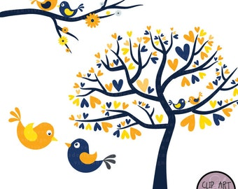 Love Birds in Navy Blue and Yellow - Digital Clip Art