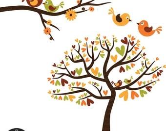 Love Birds in Fall Colors - Autumn Love Birds - Digital Clip Art