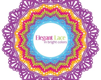 Circle Frames - Elegant Lace - in Bright Colors