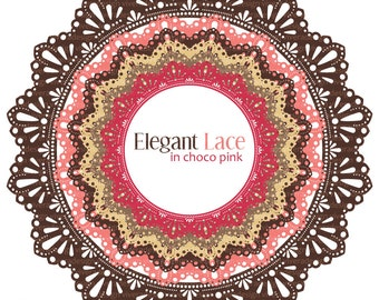 Circle Frames - Elegant Lace - ChocoPink - Yummy Brown and Pink