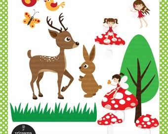Woodlands Fairies and Animals - Digital Clip Art