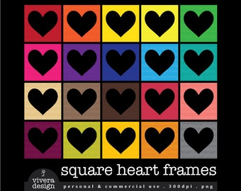 Square Heart Frames Digital Clip Art - in 20 Colors
