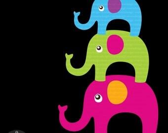 Bright Elephants Digital Clip Art - 15 Elephants in Bright Colors