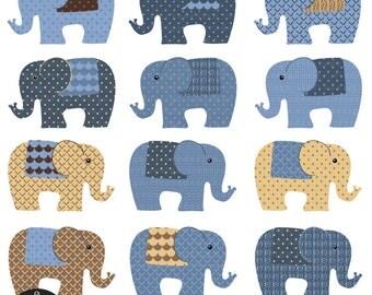 Elephants - in Choco Blue colors - Digital Clip Art