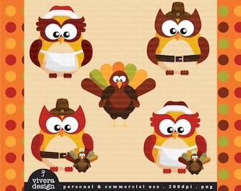 Thanksgiving Digital Clip Art - Owls