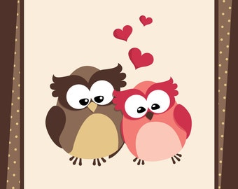 Valentine Owls Digital Clipart - Love Owls - with separate cute hearts - 9 png files