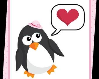 Love Penguins Digital Clip Art - For Valentine - 10 png files