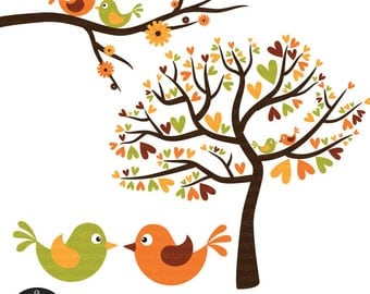 Love Birds in Fall Colors - Autumn Love Birds - with Orange and Green Birds - Digital Clip Art