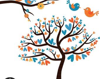 Love Birds in Orange and Blue - Digital Clip Art