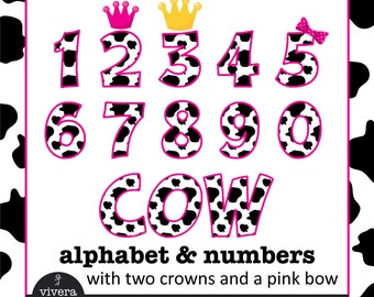 Digital Clip Art - Cow Letters and Numbers with Hot Pink Outine and additional Pink Bow, Pink Crown and Golden Crown