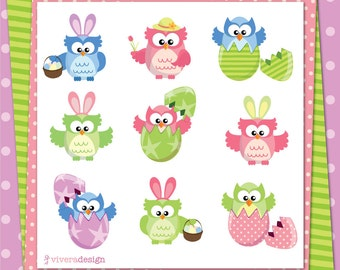 Easter Clip Art - 9 Owls with 5 Patterned Paper