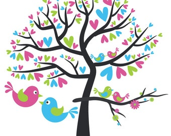 Love Birds in Blue, Green, and Pink - Digital Clip Art