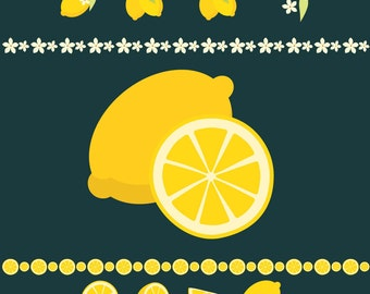Freshly Squeezed Lemon - lemon clip arts, frames, and ribbons