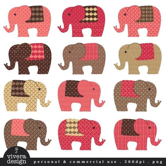 Elephants - in Choco Pink colors - Digital Clip Art