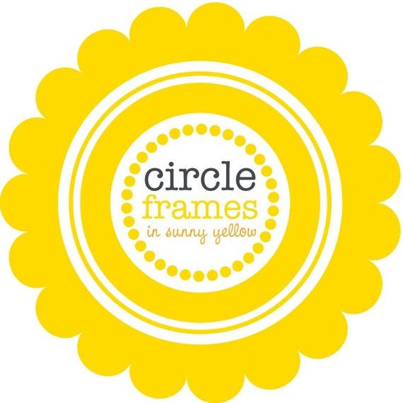 Digital Clip Art - Circle Frames in Sunny Yellow