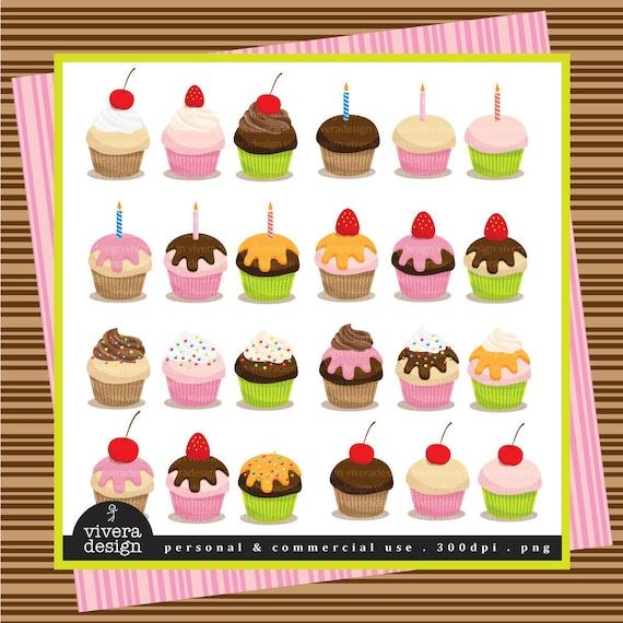 24 Cupcakes - Digital Clip Art