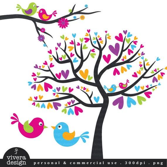 Love Birds - Lollipop Love - Cheerful Pink, Purple, Blue, Orange, and Green - Digital Clip Art