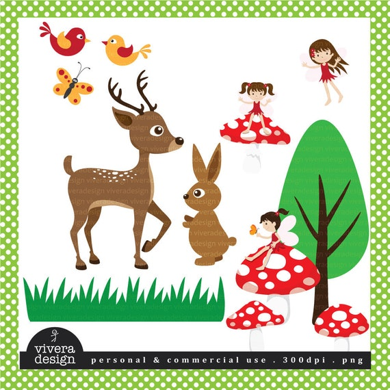 Woodlands Fairies and Animals - Digital Clip Art