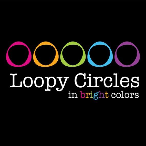 Loopy Circle Frames - Digital Clip Art - in Bright Colors