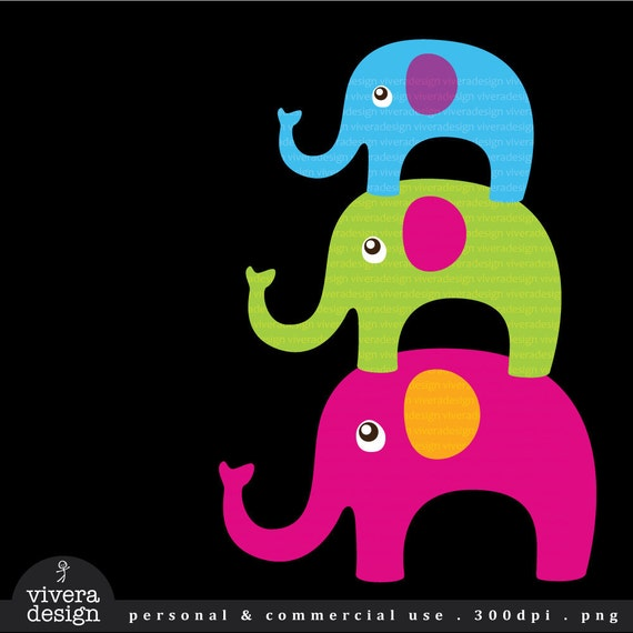 Bright Elephants Digital Clip Art - 15 Elephants in Bright Colors